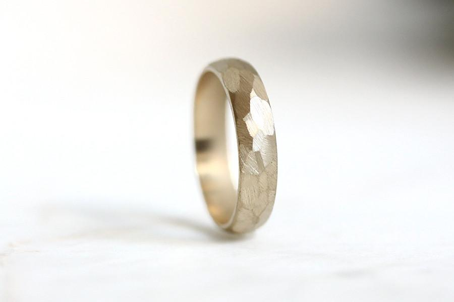 14k rustic faceted half round band - Andrea Bonelli Jewelry
