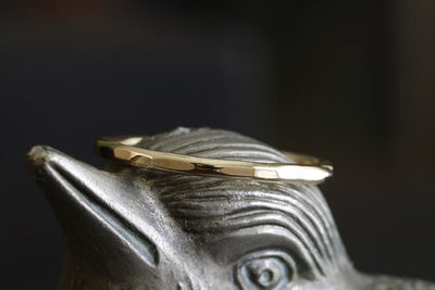 14k hammer facet ring - Andrea Bonelli Jewelry