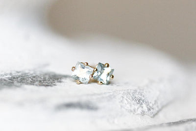 princess cut aquamarine studs Earrings Andrea Bonelli