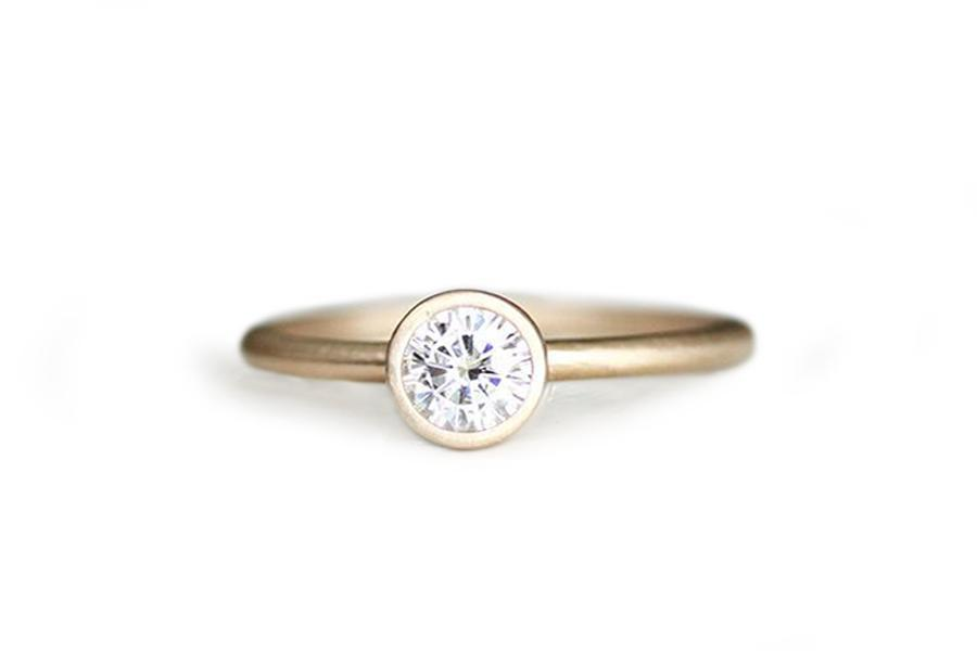 14k moissanite engagement ring .50ct - Andrea Bonelli Jewelry