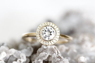 create your brie halo ring Gemstone Rings Andrea Bonelli 14k Yellow Gold White Sapphire