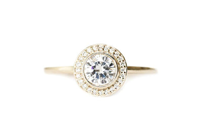brie halo GIA diamond ring Diamond Rings Andrea Bonelli 14k Yellow Gold SI1