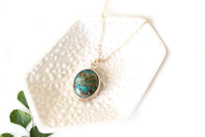 14k tyrone turquoise necklace Andrea Bonelli Jewelry