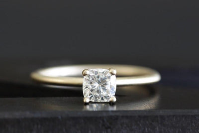 Custom Order Deposit 14k cushion moissanite engagement ring Custom Order Andrea Bonelli