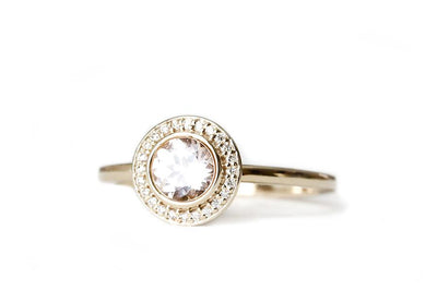 create your brie halo ring Gemstone Rings Andrea Bonelli 14k Yellow Gold Morganite