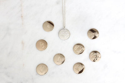 silver uppercase initial charm necklace - Andrea Bonelli Jewelry