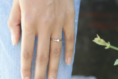14k petite diamond ring | Andrea Bonelli Jewelry