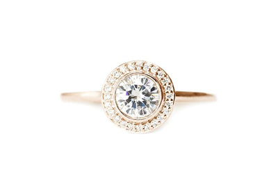 brie halo GIA diamond ring Diamond Rings Andrea Bonelli 14k Rose Gold SI1