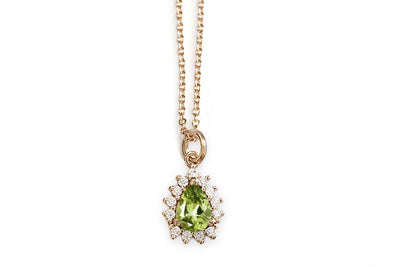 aura peridot pear halo necklace Andrea Bonelli Jewelry 14k Rose Gold
