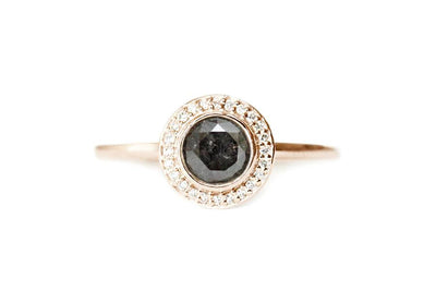 brie salt & pepper halo diamond ring Sold Andrea Bonelli 14k Rose Gold