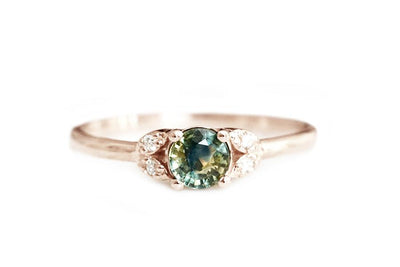 quinn green parti sapphire ring Gemstone Rings Andrea Bonelli 14k Rose Gold