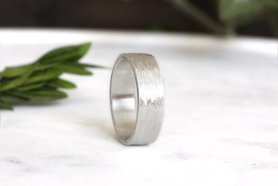 silver rustic birch band Bands Andrea Bonelli Jewelry