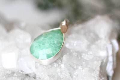 silver chrysoprase necklace Andrea Bonelli Jewelry