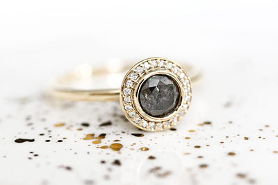 brie salt & pepper halo diamond ring Sold Andrea Bonelli