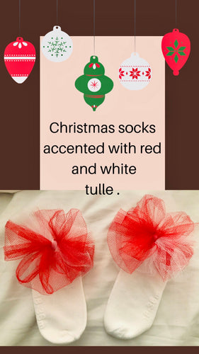 Red and white tulle flower sock