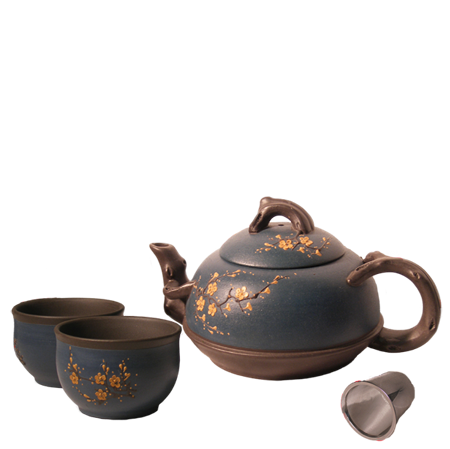 Winter Blossom Yixing Teapot Set, 19 oz.