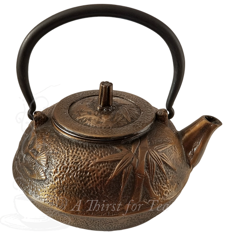 Large Bronze Bamboo Cast Iron Teapot, 34 fl.oz.
