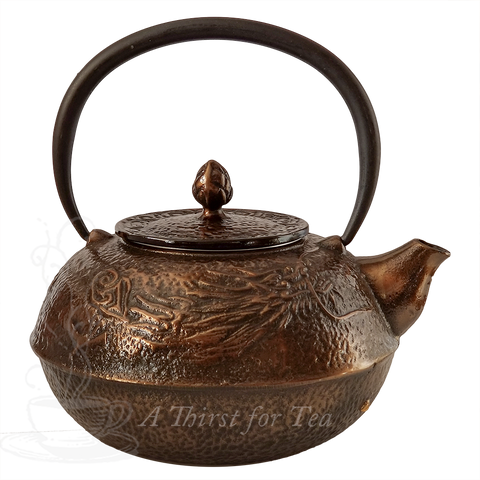 Large Bronze Dragon Cast Iron Teapot, 37.4 fl.oz.