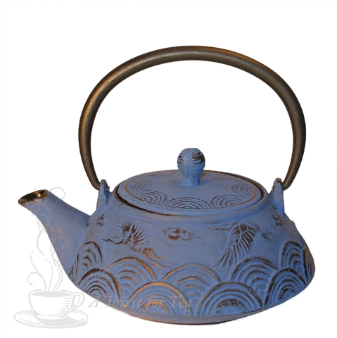 Crane Over Blue Sea Cast Iron Teapot
