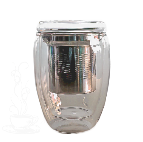 Double Walled Glass Filtering Tea Tumbler