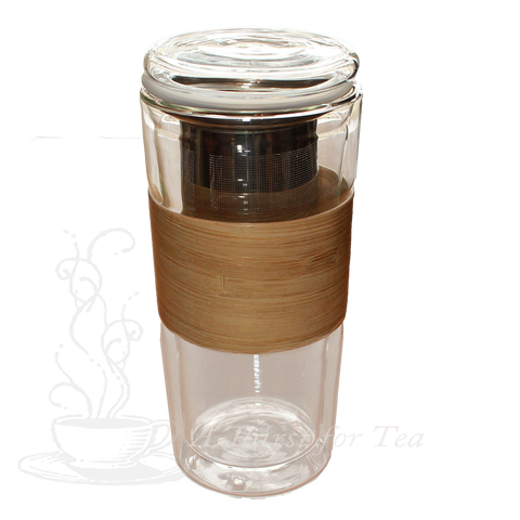 Double Walled Glass Tumbler with Stainless Steel Infuser & Heat Proof Bamboo Sleeve