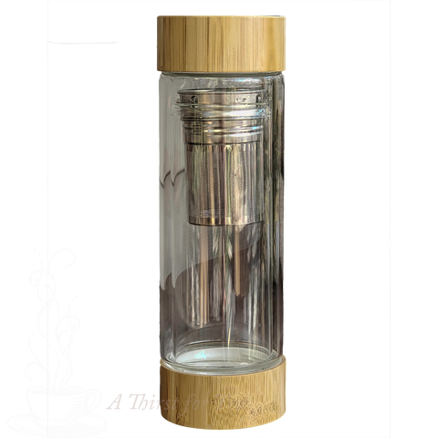 Glass Tumbler Travel Mug with Infuser & Bamboo Lid