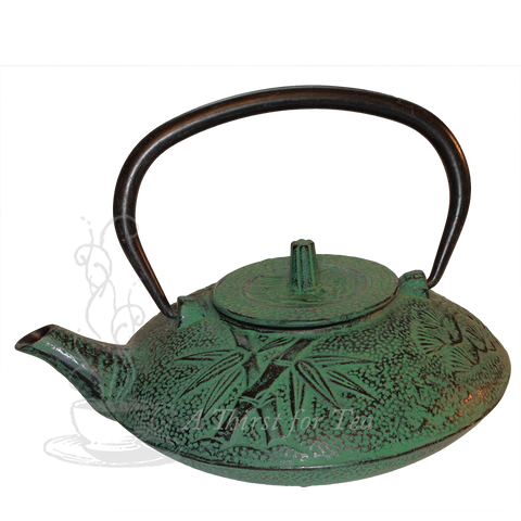 Bamboo Cast Iron Teapot, Green