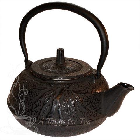 Large Black Bamboo Cast Iron Teapot, 34 fl.oz.