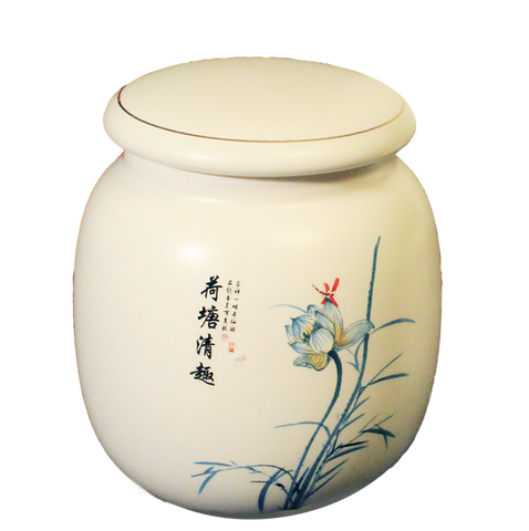 Lotus Flower Porcelain Tea Canister
