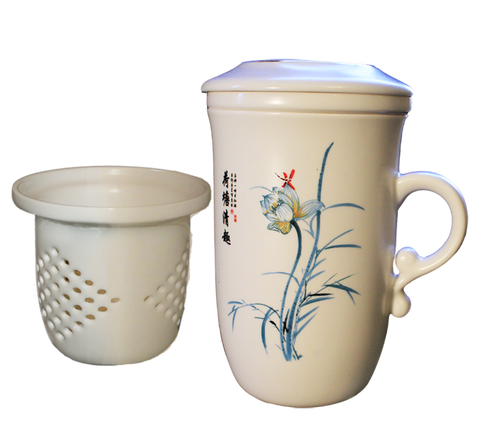 Lotus Flower Porcelain Filtering Tea Mug with Infuser