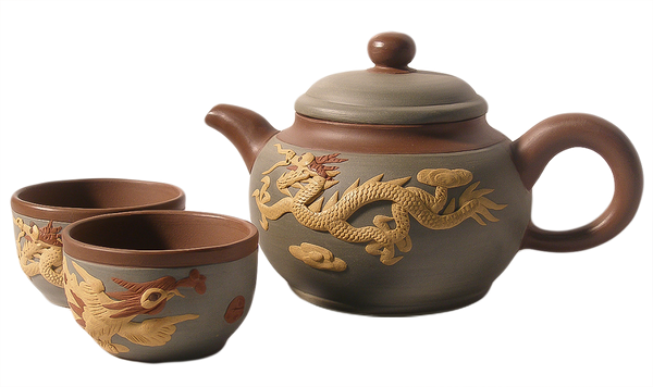 Phoenix and Dragon Yixing Teapot Set