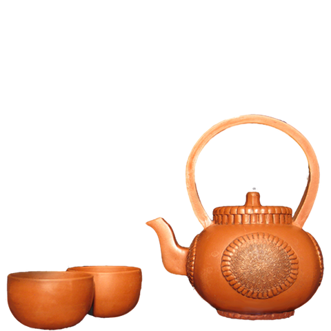 Sunburst Yixing Teapot Set, 18 oz.