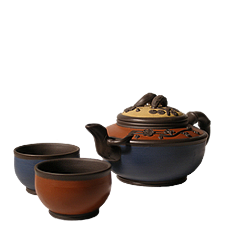 Tri Color Yixing Tea Set, 17.5 oz.