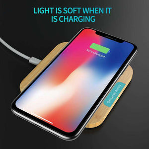 Auckly Fast Wireless Charger 7.5W Bamboo Qi Wireless Charging Pad For iPhone 8/8 Plus/X/XS Max/XR And Samsung Galaxy S9/S9 Plus