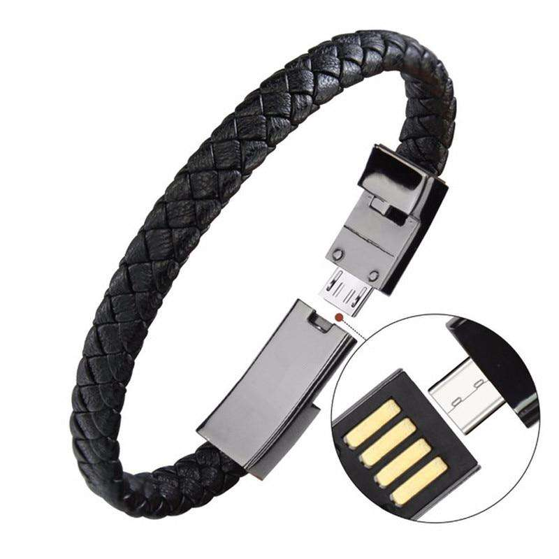 Luxury Leather Bracelet Phone Charger