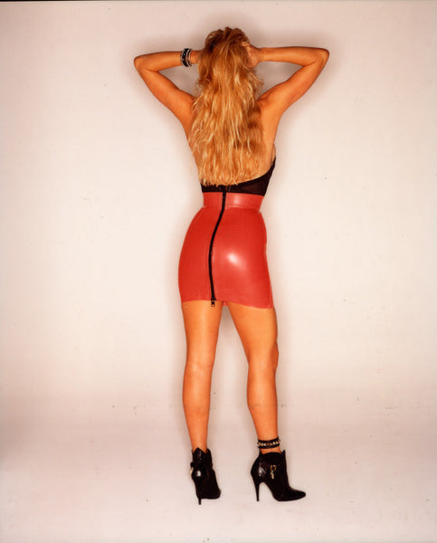 Blonde Girl - Red Latex Mini Skirt