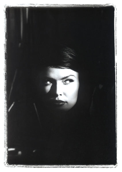 Tight Head Shot of Girl in Shadow, Black & White