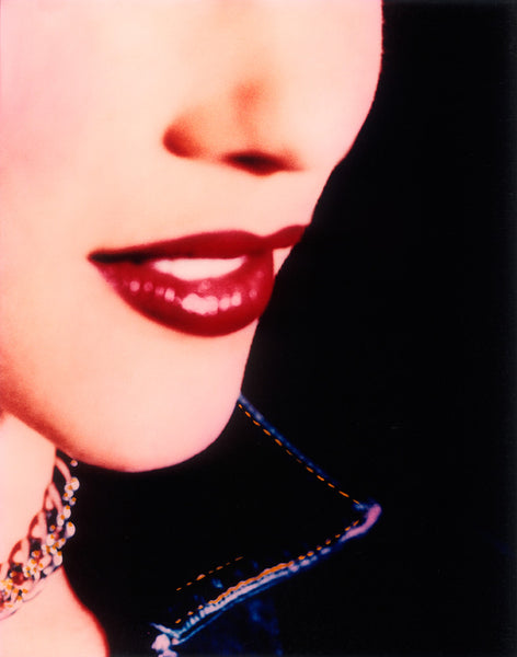 Tight Shot of Girl's Red Lips, Necklace, Painterly