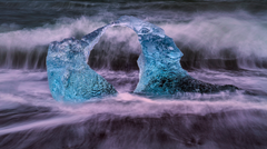 Glacier Pair Swept on a Black Beach