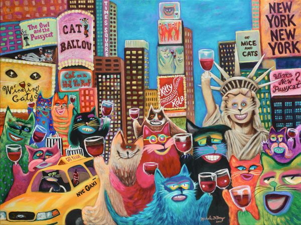 Wine-ing Cats ~ New York, Times Square