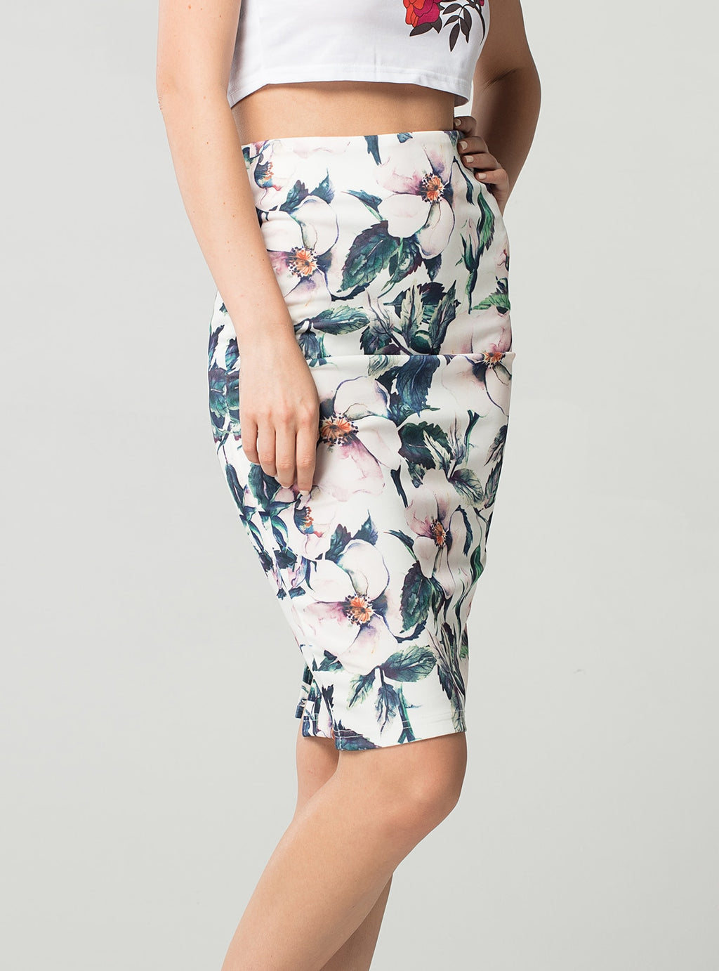 Lara Pencil Skirt in White & Purple Floral