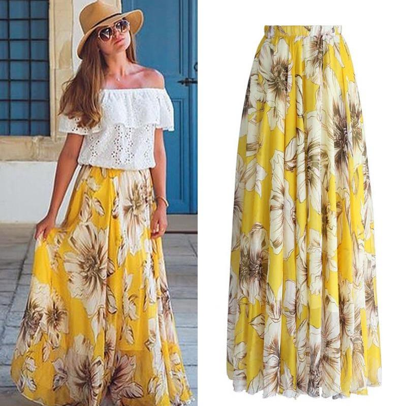 Eden Maxi Skirt in Yellow