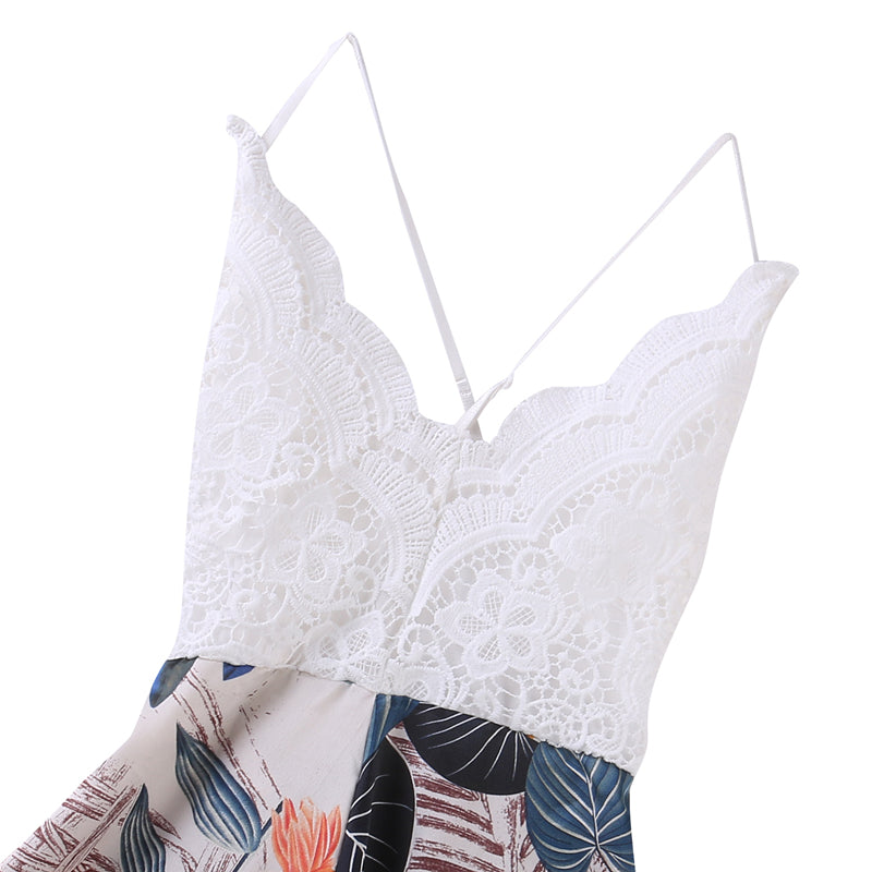 Audrina Lace Romper in Tropical