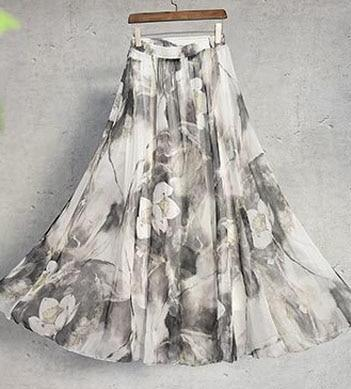 Shayna Maxi Skirt in Light Gray