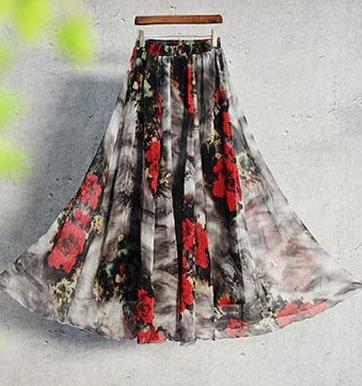 Shayna Maxi Skirt in Gray & Red Floral