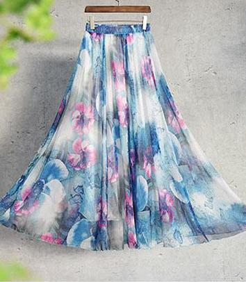 Shayna Maxi Skirt in Blue & Purple