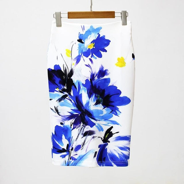 Lara Pencil Skirt in Blue Floral