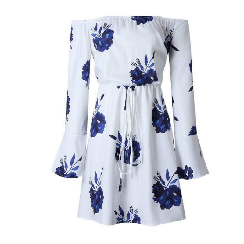 Kara Dress in White & Blue Floral