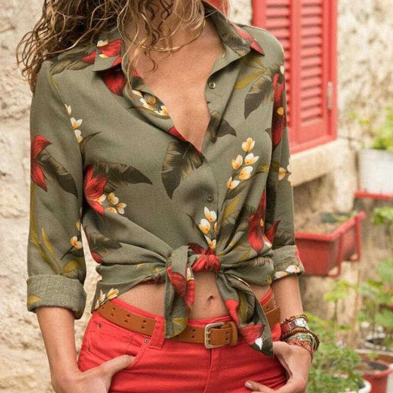 Tessa Blouse Shirt in Army Green