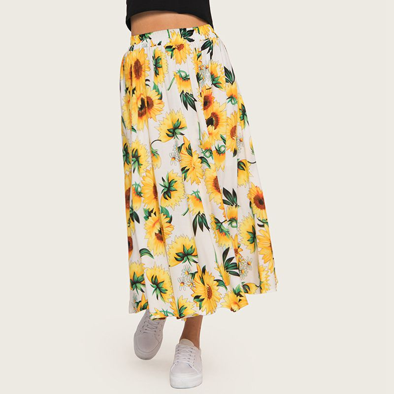 Cali Sunflower Skirt in White